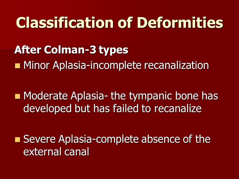 Classification of Deformities