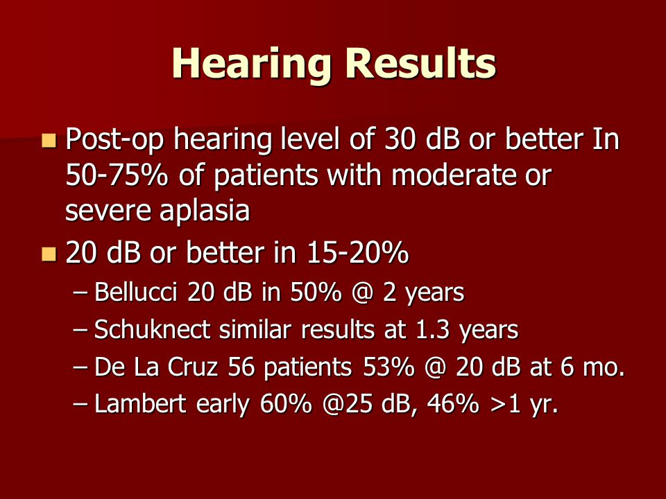 Hearing Results Post-op hearing level of 30 dB or better In 50-75% of patients with moderate or severe aplasia.