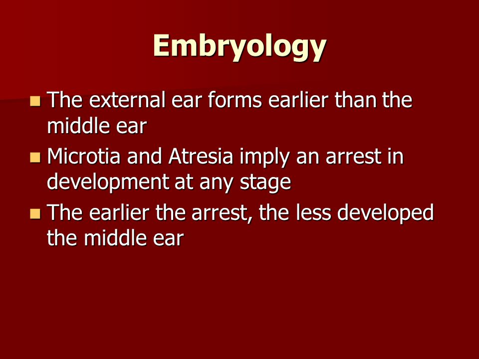 Embryology The external ear forms earlier than the middle ear