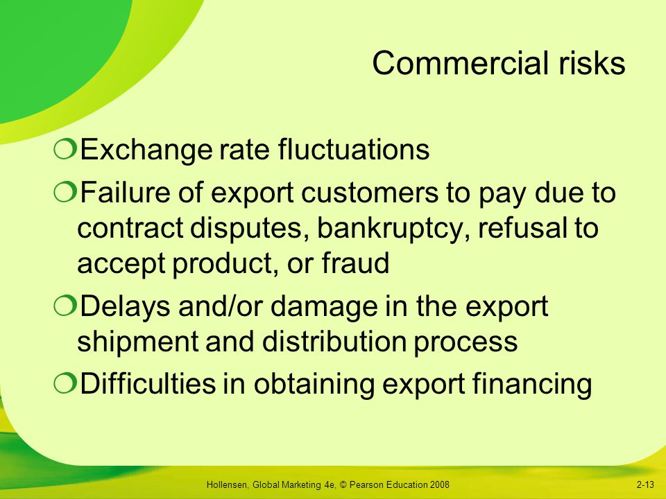 Commercial risks Exchange rate fluctuations