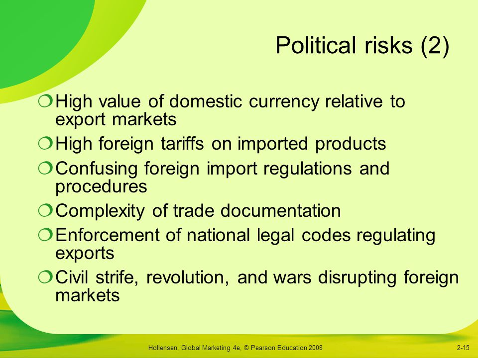 Political risks (2) High value of domestic currency relative to export markets. High foreign tariffs on imported products.