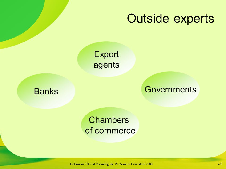 Outside experts Export agents Governments Banks Chambers of commerce