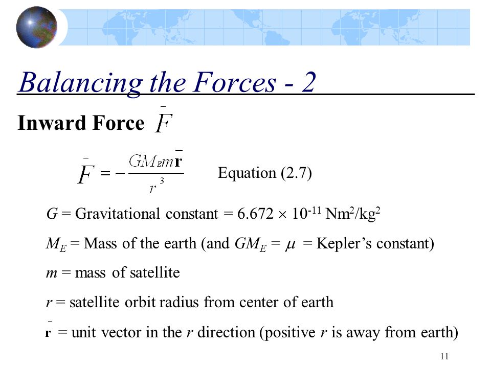 Balancing the Forces - 2 Inward Force Equation (2.7)