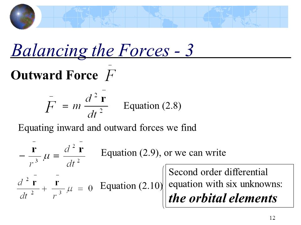 Balancing the Forces - 3 Outward Force Equation (2.8)