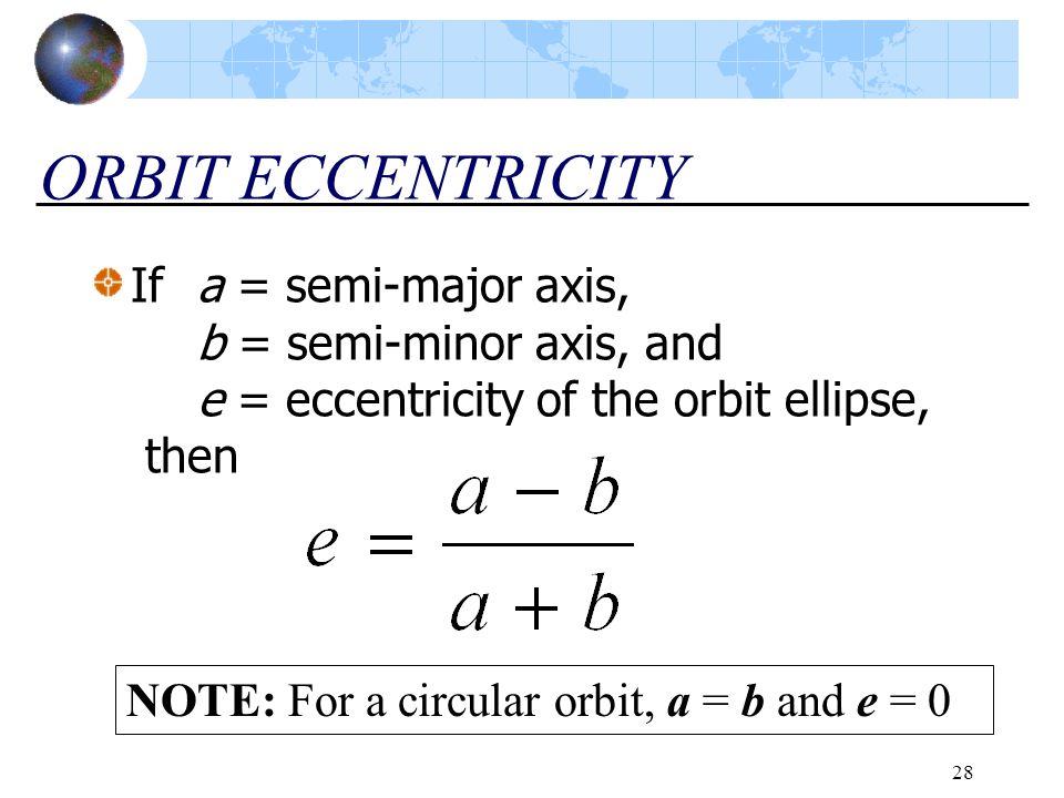 ORBIT ECCENTRICITY If a = semi-major axis, b = semi-minor axis, and e = eccentricity of the orbit ellipse, then.