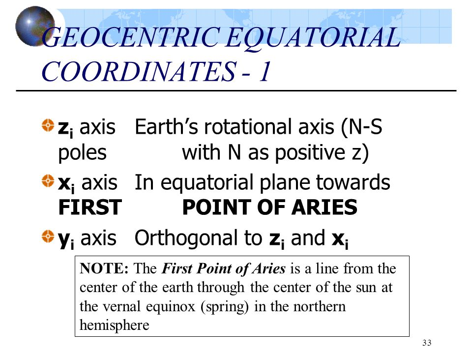 GEOCENTRIC EQUATORIAL COORDINATES - 1