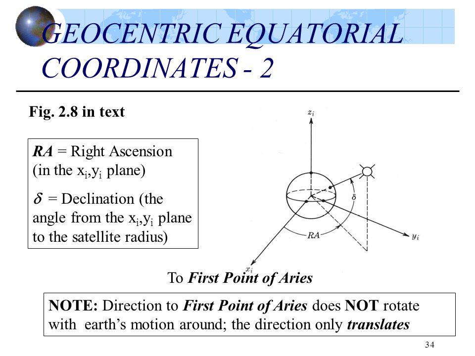 GEOCENTRIC EQUATORIAL COORDINATES - 2