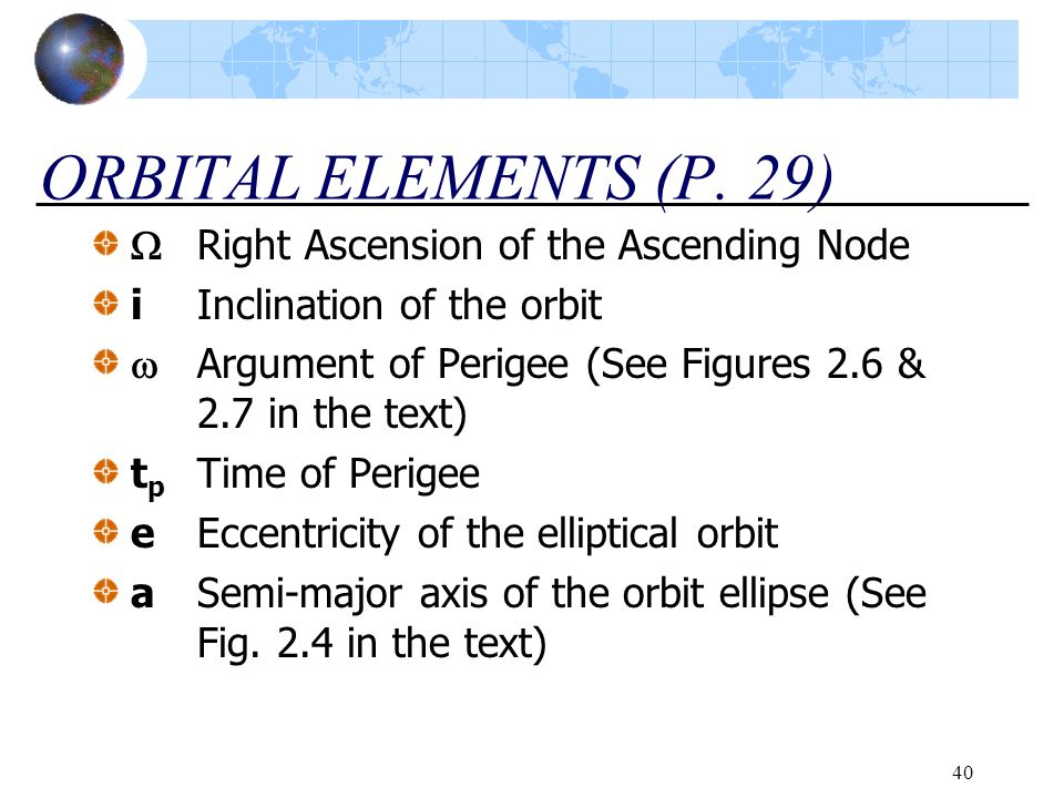 ORBITAL ELEMENTS (P. 29)  Right Ascension of the Ascending Node
