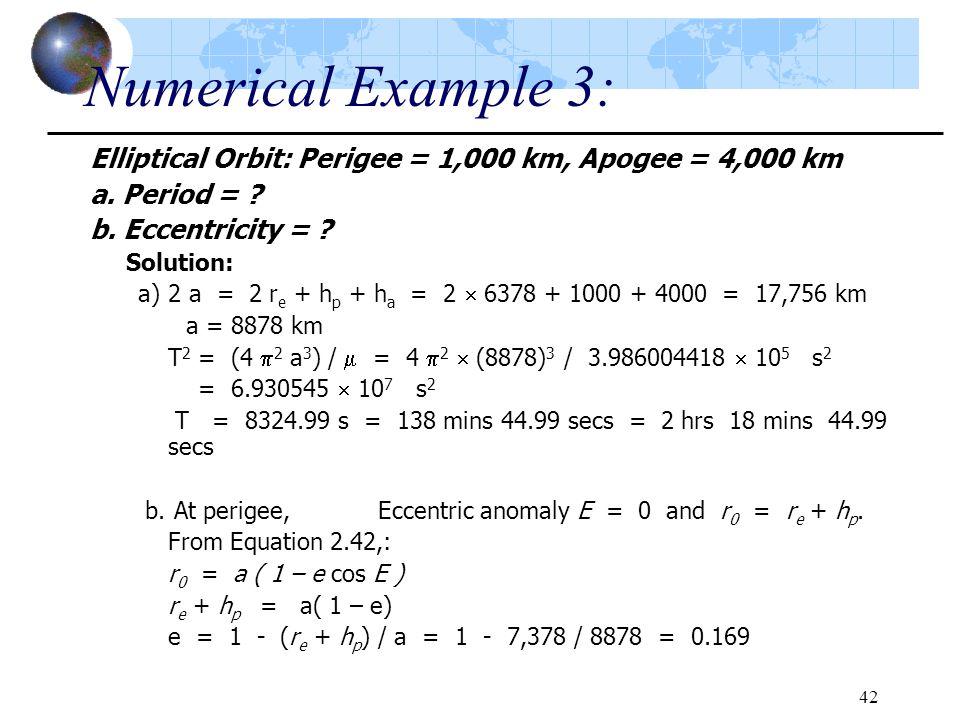 Numerical Example 3: Elliptical Orbit: Perigee = 1,000 km, Apogee = 4,000 km. a. Period = b. Eccentricity =