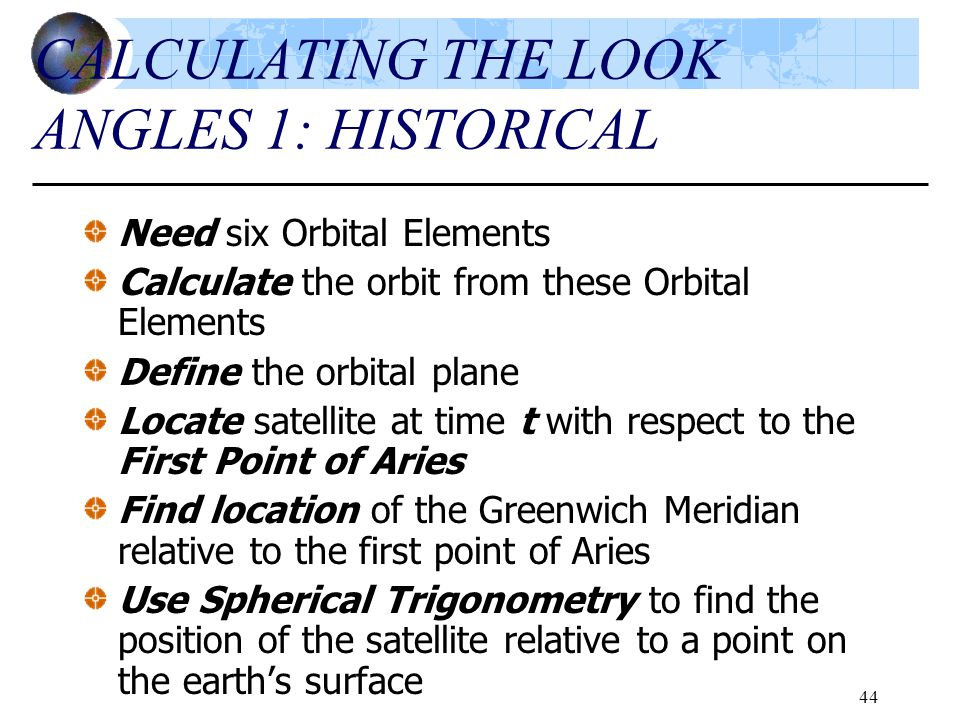 CALCULATING THE LOOK ANGLES 1: HISTORICAL