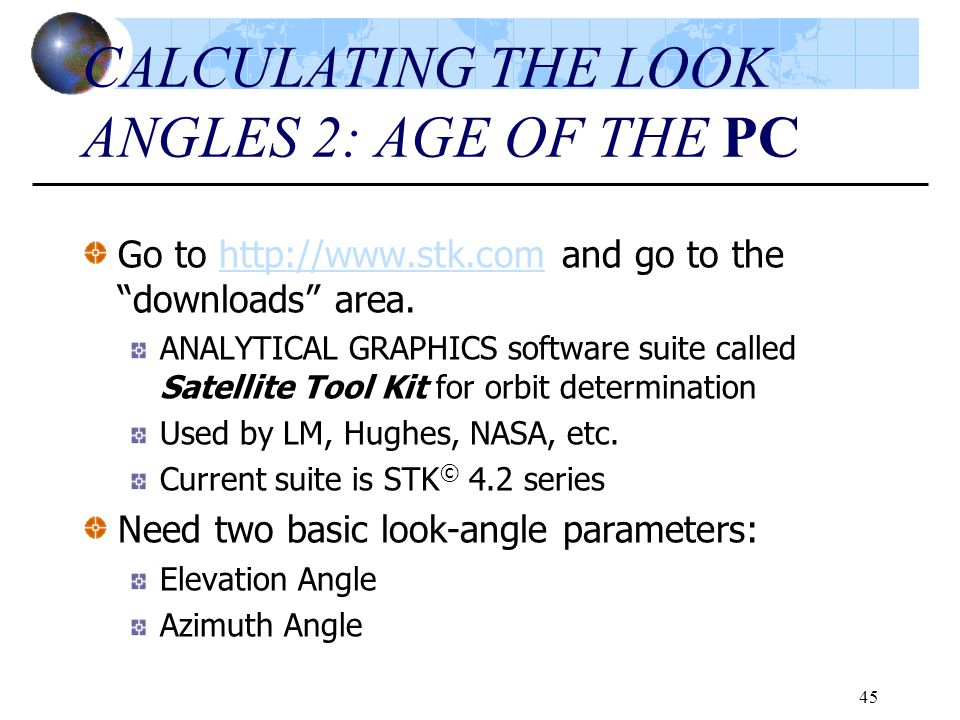 CALCULATING THE LOOK ANGLES 2: AGE OF THE PC