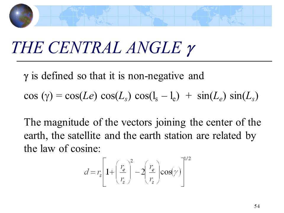 THE CENTRAL ANGLE   is defined so that it is non-negative and