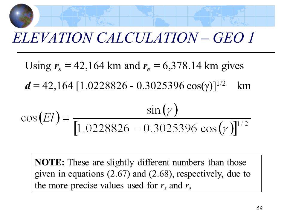 ELEVATION CALCULATION – GEO 1