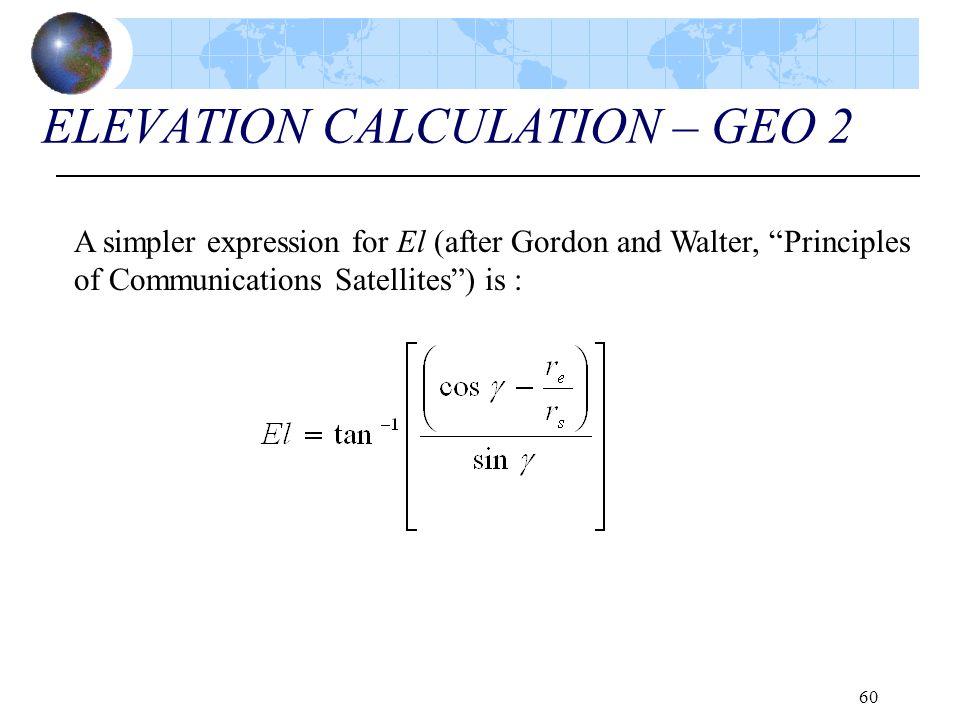 ELEVATION CALCULATION – GEO 2