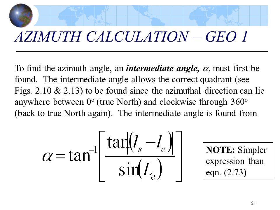 AZIMUTH CALCULATION – GEO 1