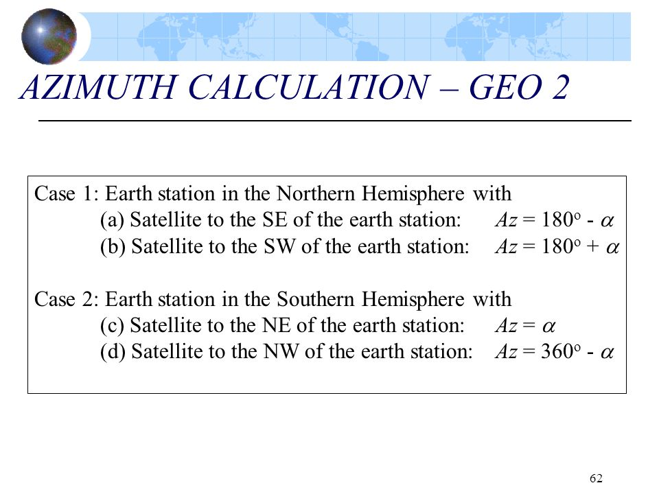 AZIMUTH CALCULATION – GEO 2