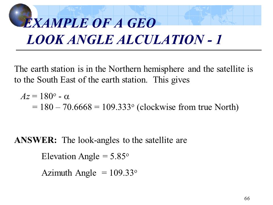 EXAMPLE OF A GEO LOOK ANGLE ALCULATION - 1