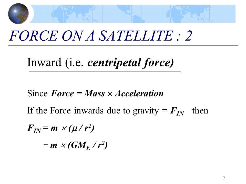FORCE ON A SATELLITE : 2 Inward (i.e. centripetal force)