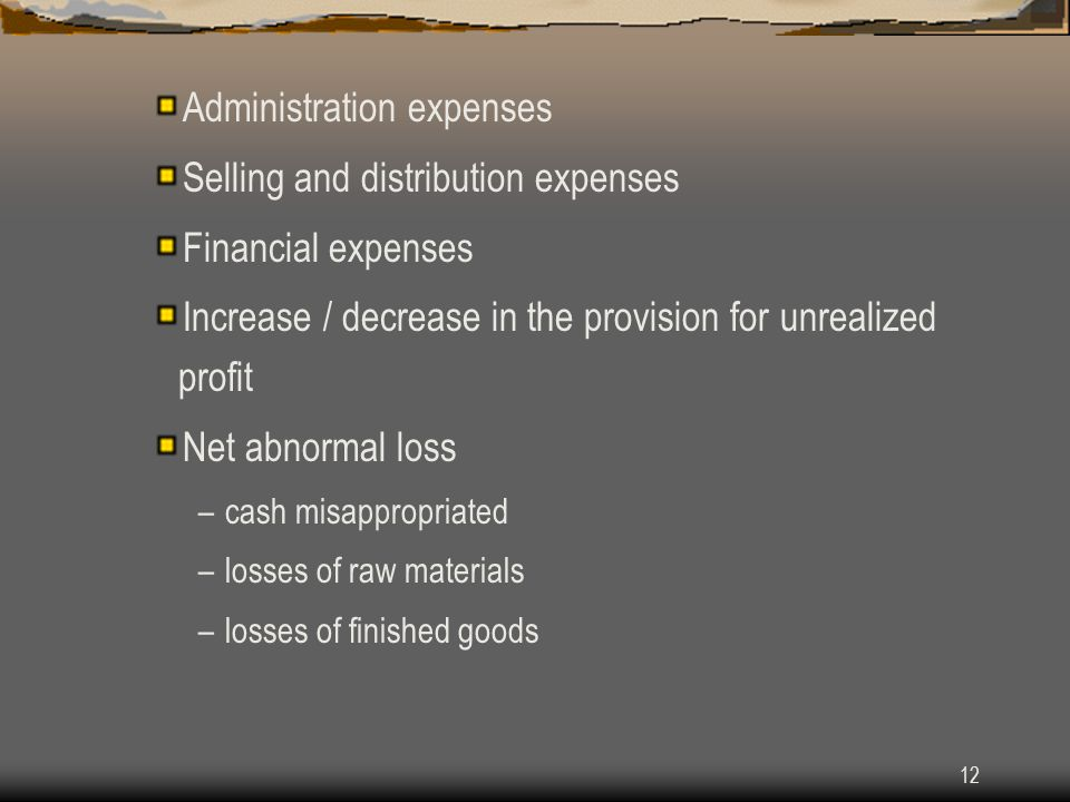 Administration expenses Selling and distribution expenses