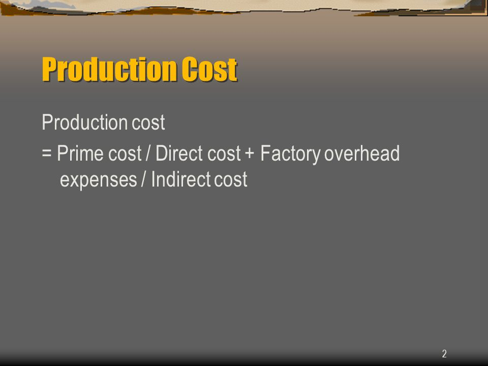 Production Cost Production cost