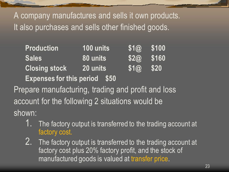 A company manufactures and sells it own products.