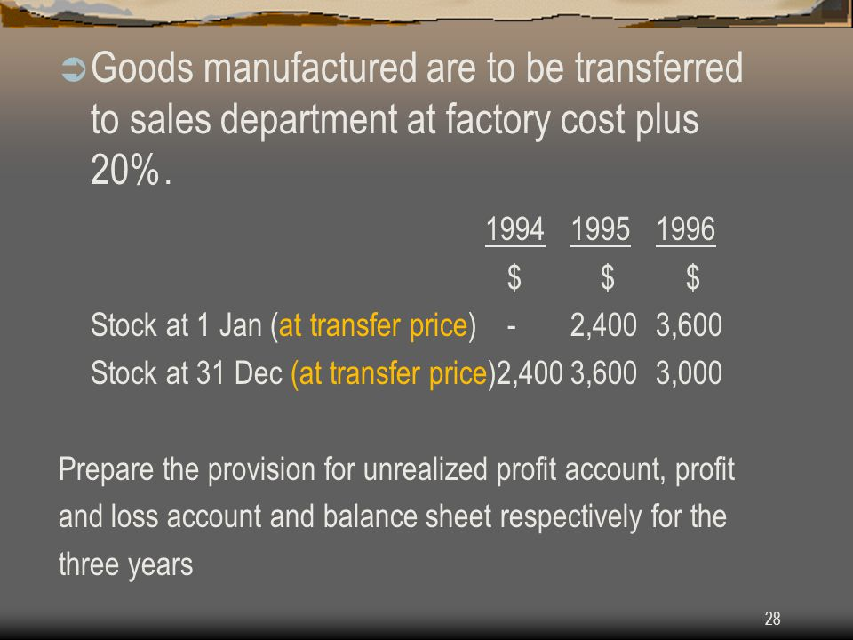 Goods manufactured are to be transferred to sales department at factory cost plus 20%.