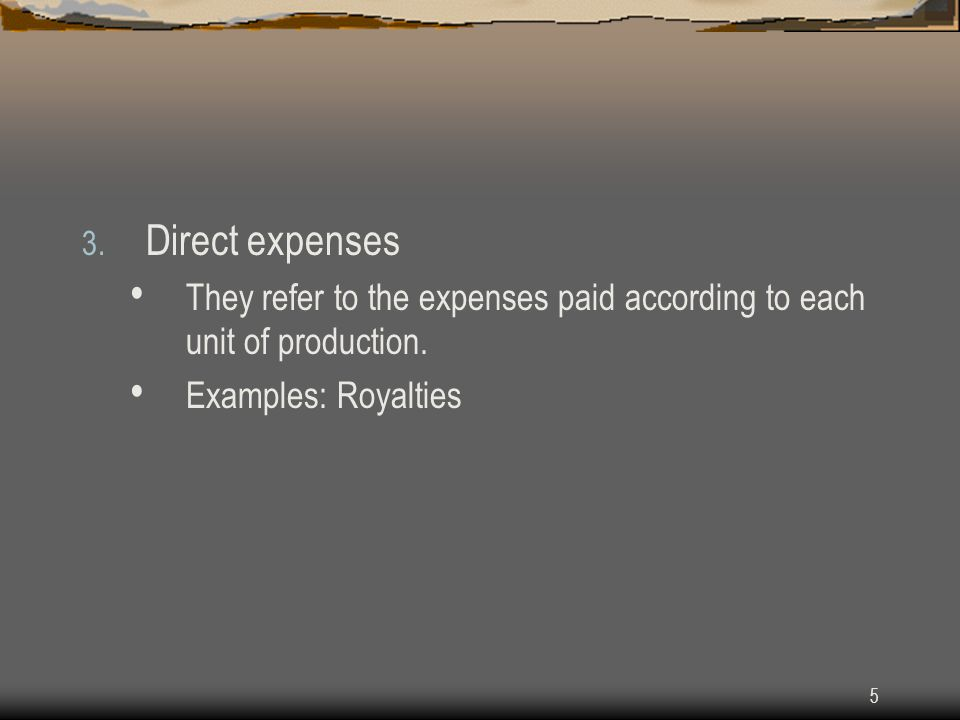 Direct expenses They refer to the expenses paid according to each unit of production.