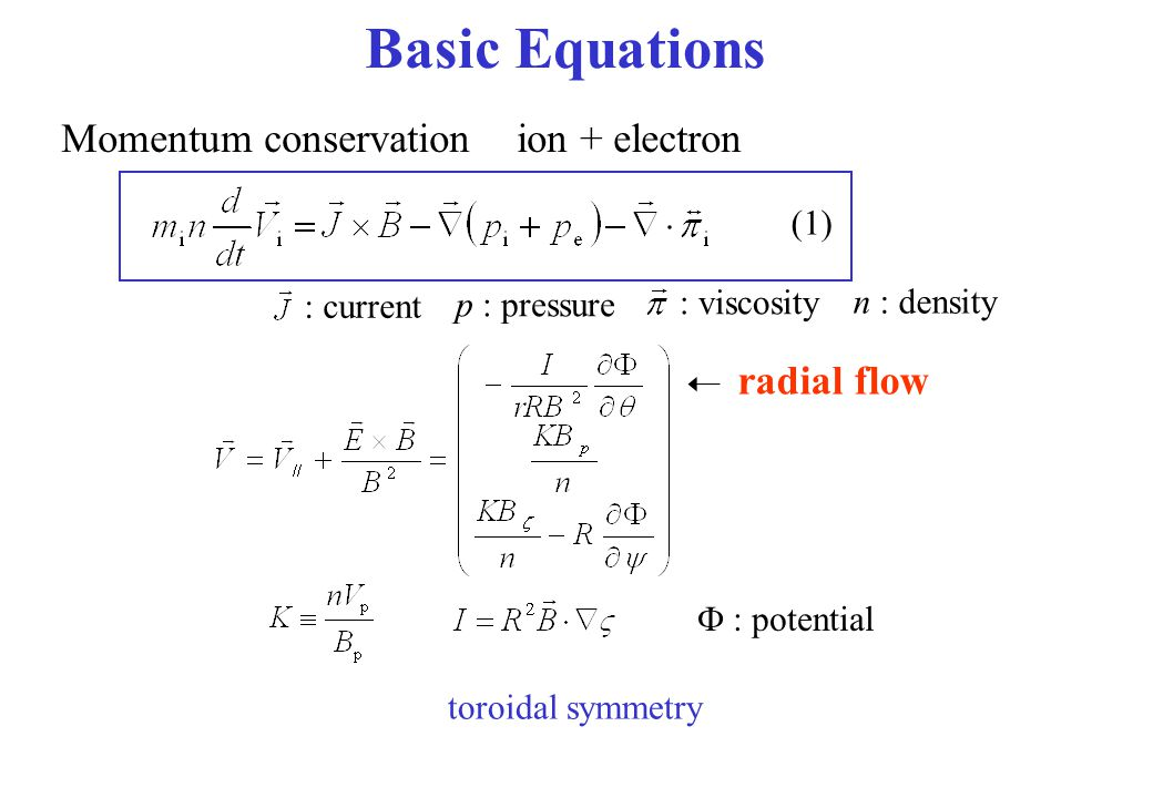 Basic Equations Momentum conservation ion + electron radial flow (1)