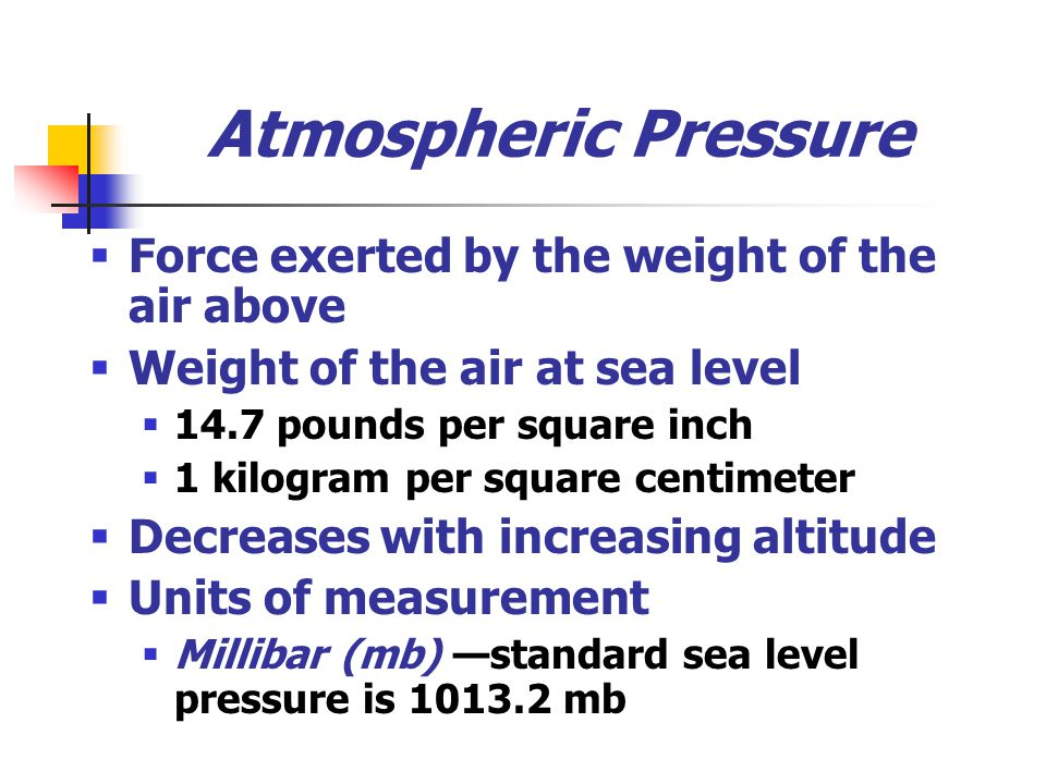 Atmospheric Pressure Force exerted by the weight of the air above