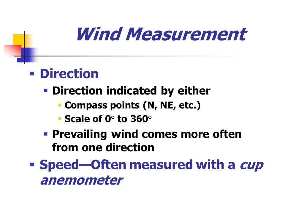 Wind Measurement Direction Speed—Often measured with a cup anemometer