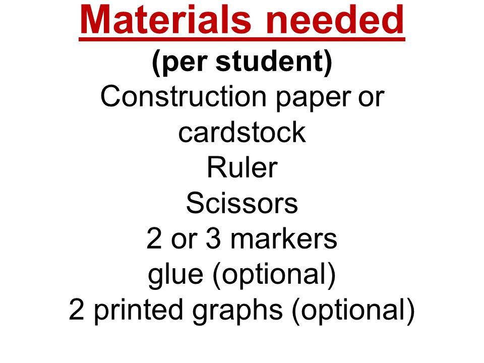 Materials needed (per student) Construction paper or cardstock Ruler Scissors 2 or 3 markers glue (optional) 2 printed graphs (optional)