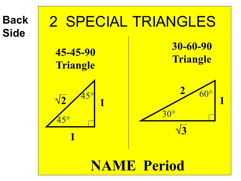 2 SPECIAL TRIANGLES NAME Period Back Side 30-60-90 Triangle