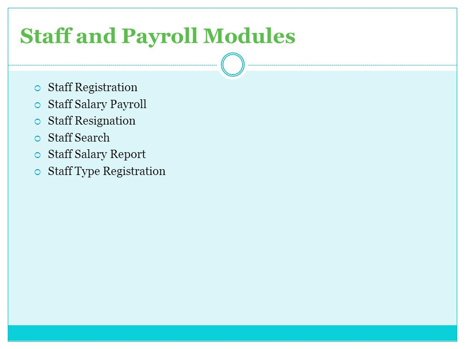 Staff and Payroll Modules