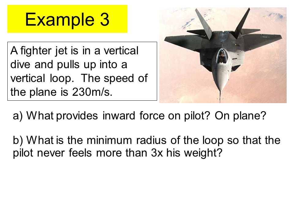 Example 3 A fighter jet is in a vertical dive and pulls up into a vertical loop. The speed of the plane is 230m/s.