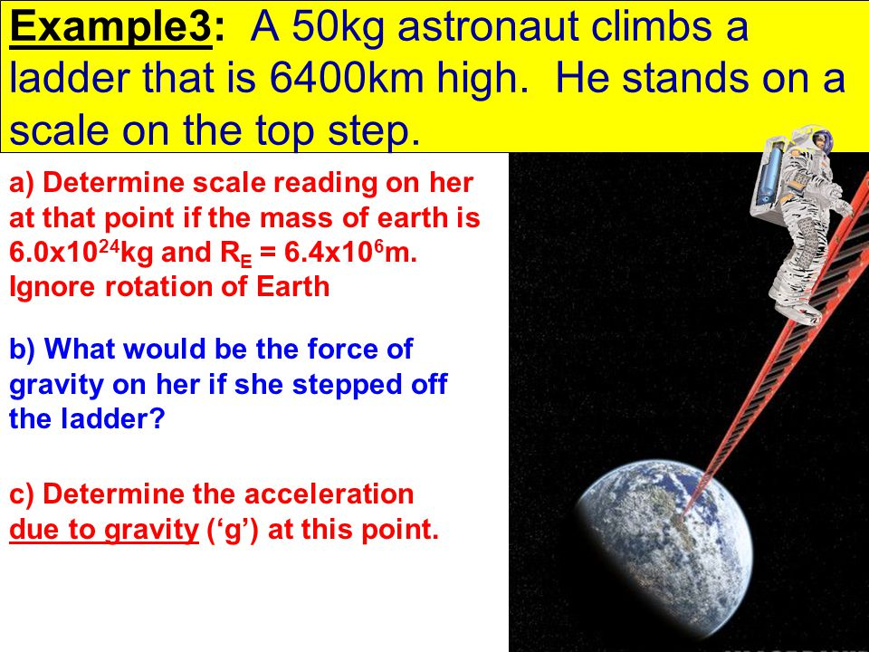 Example3: A 50kg astronaut climbs a ladder that is 6400km high