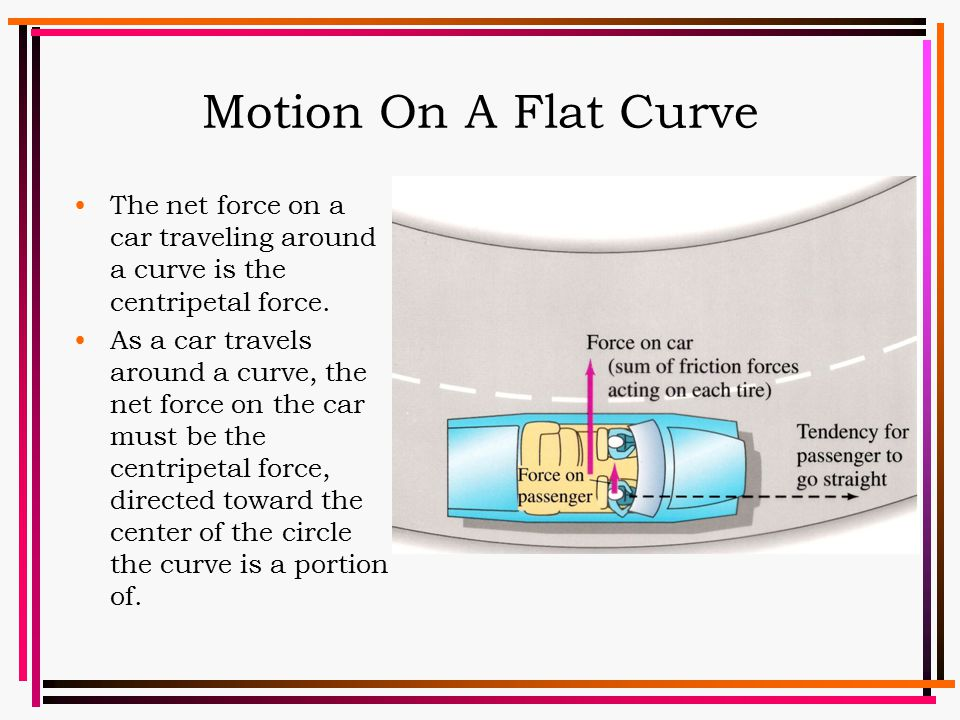 Motion On A Flat Curve The net force on a car traveling around a curve is the centripetal force.