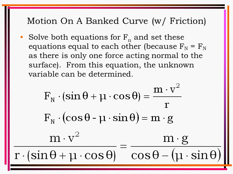 Motion On A Banked Curve (w/ Friction)