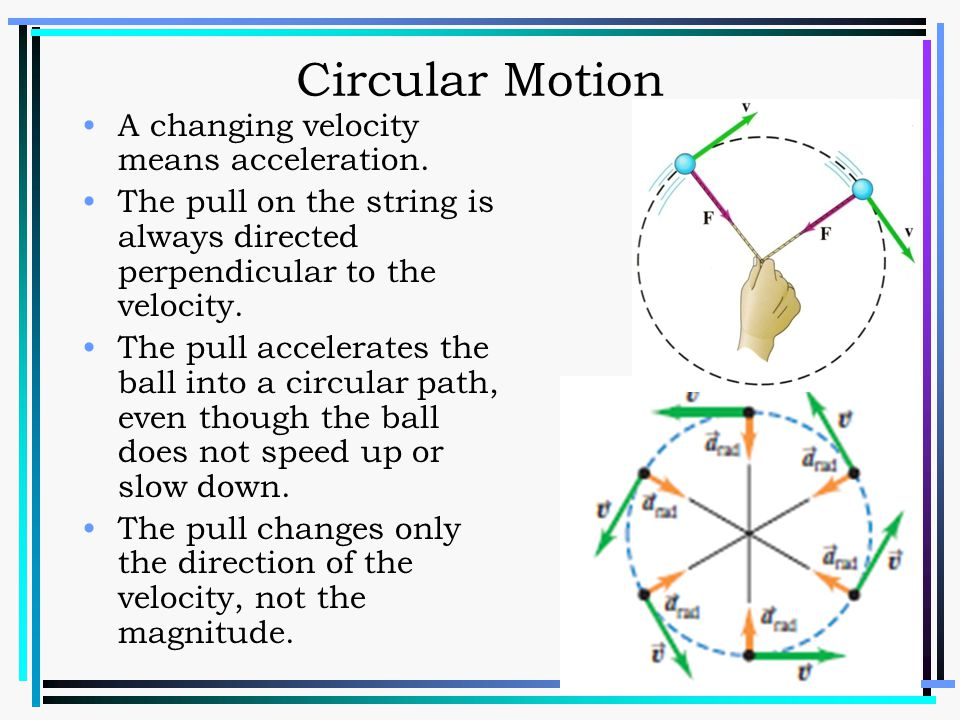 Circular Motion A changing velocity means acceleration.