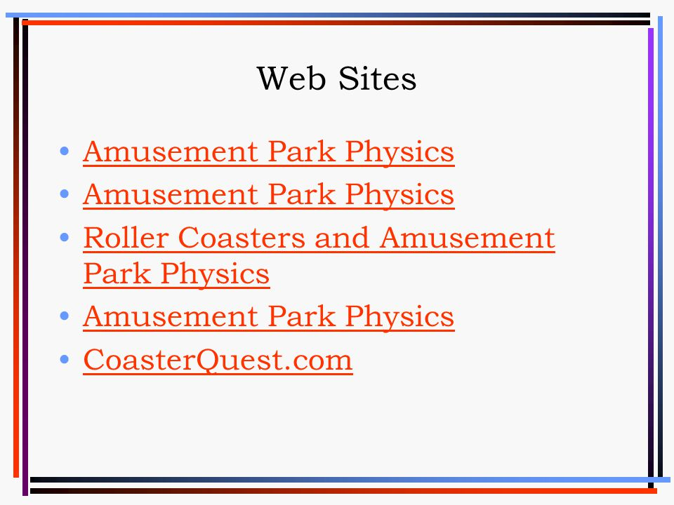 Web Sites Amusement Park Physics