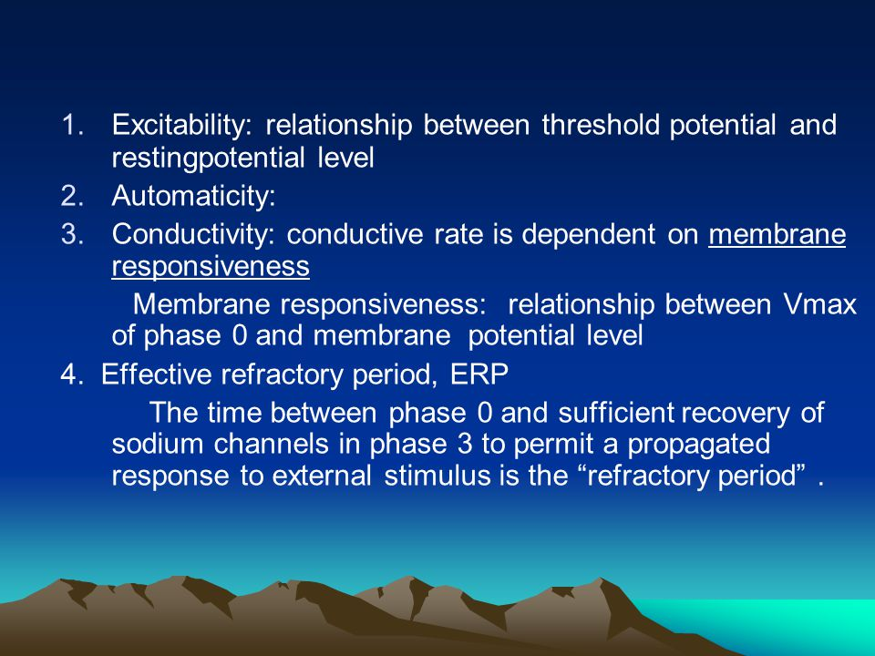 Excitability: relationship between threshold potential and restingpotential level