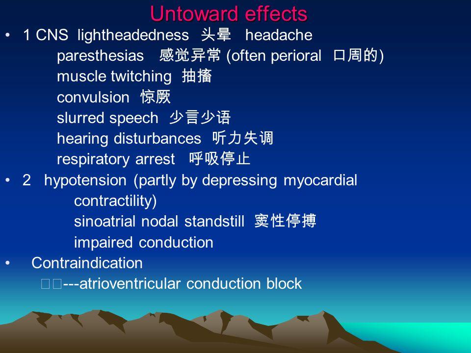 Untoward effects 1 CNS lightheadedness 头晕 headache