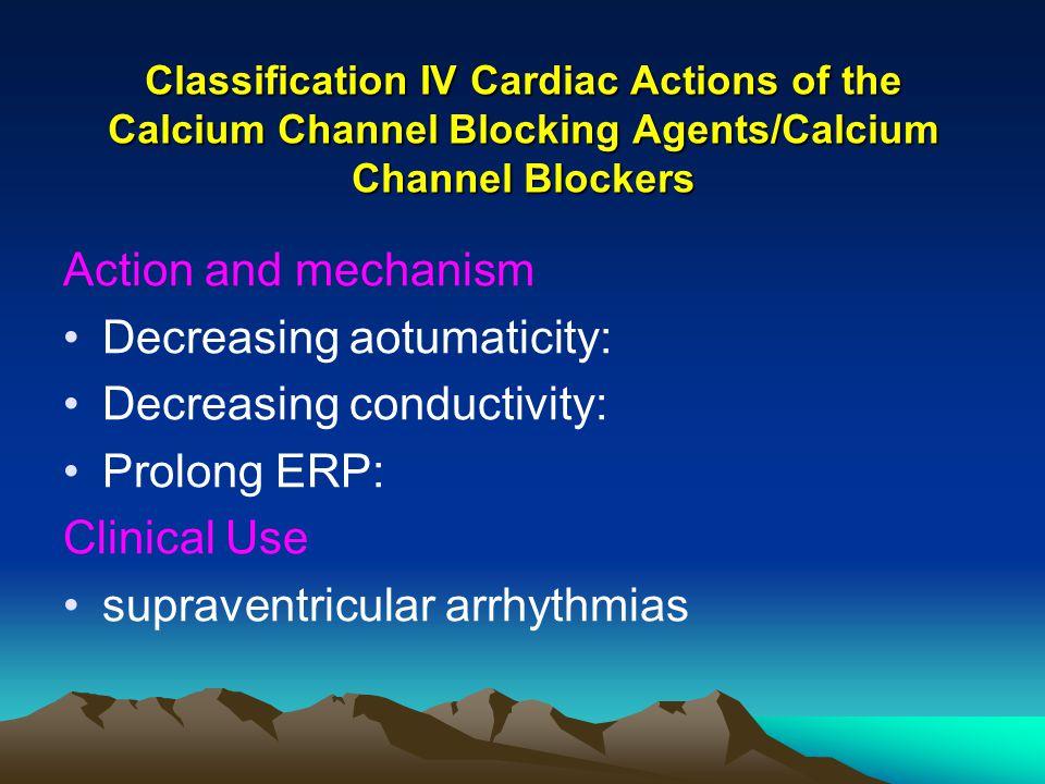 Decreasing aotumaticity: Decreasing conductivity: Prolong ERP: