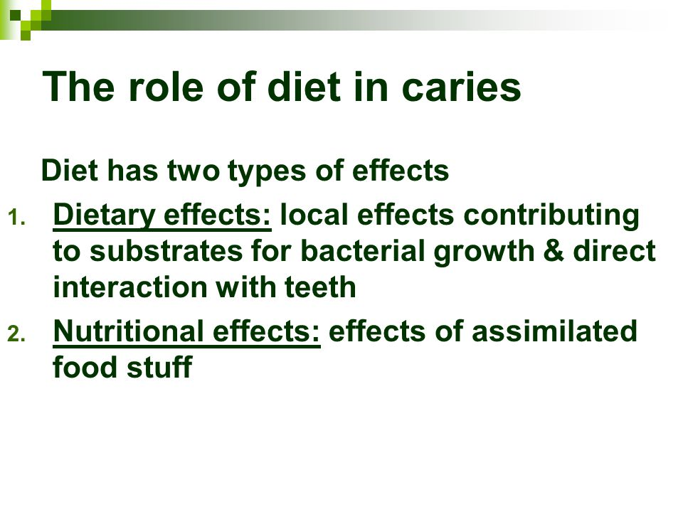 The role of diet in caries