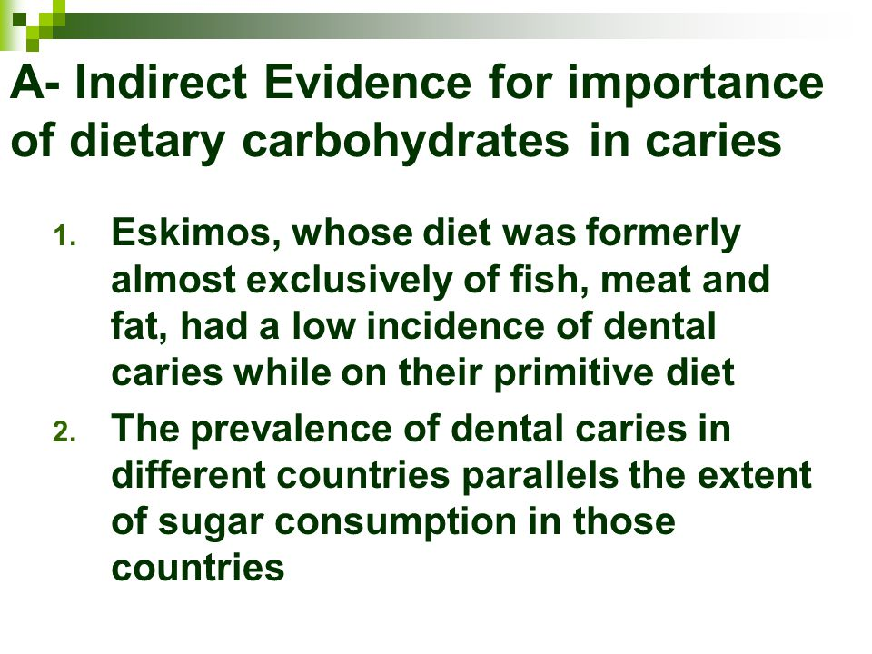 A- Indirect Evidence for importance of dietary carbohydrates in caries