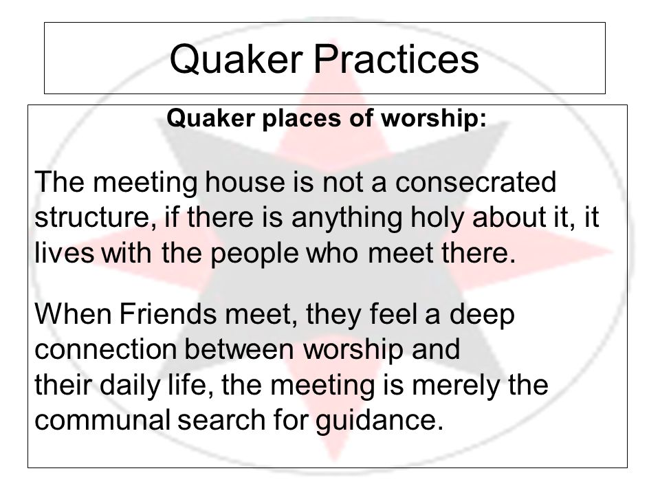 Quaker places of worship: