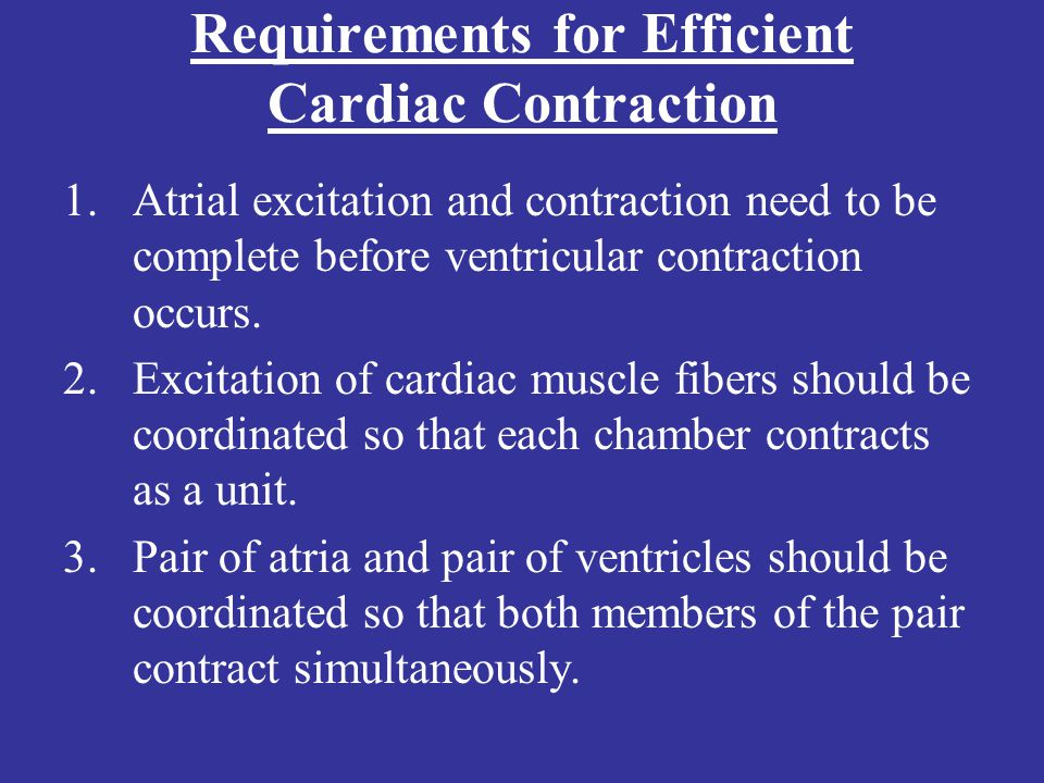 Requirements for Efficient Cardiac Contraction
