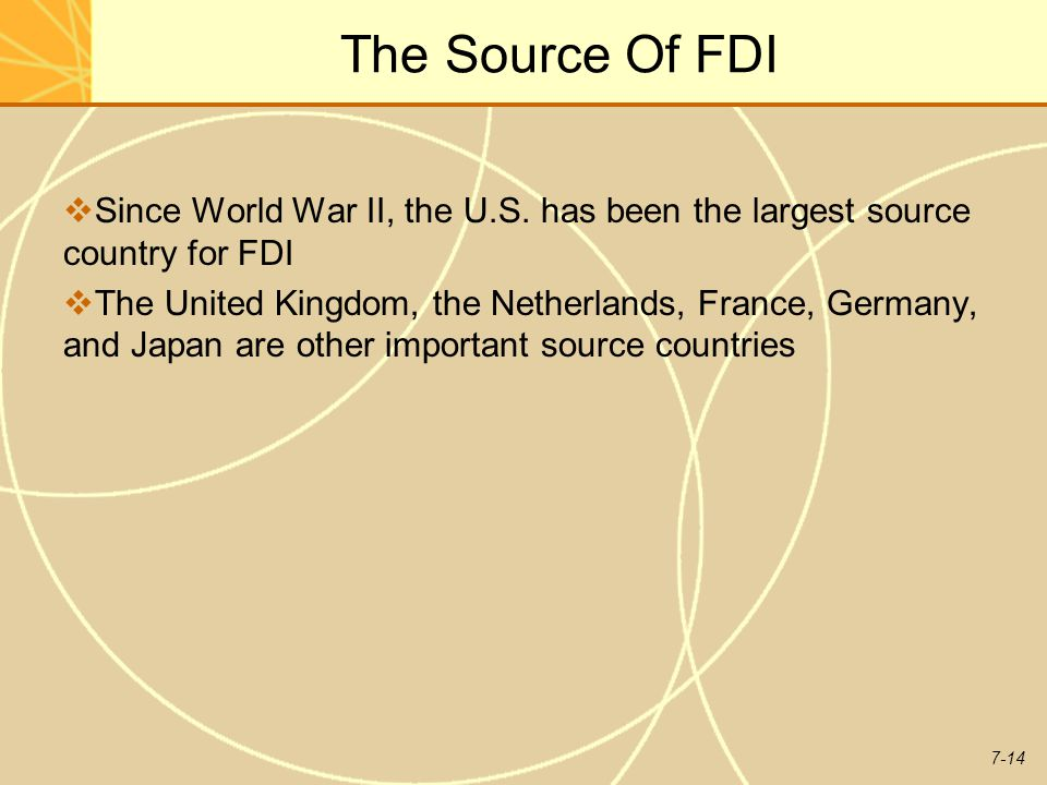 The Source Of FDI Since World War II, the U.S. has been the largest source country for FDI.