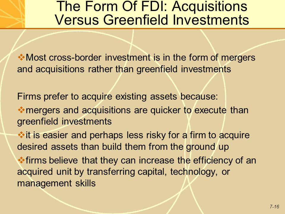 The Form Of FDI: Acquisitions Versus Greenfield Investments