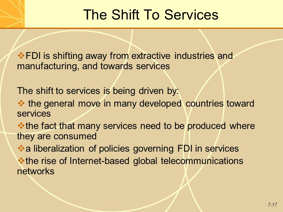 The Shift To Services FDI is shifting away from extractive industries and manufacturing, and towards services.