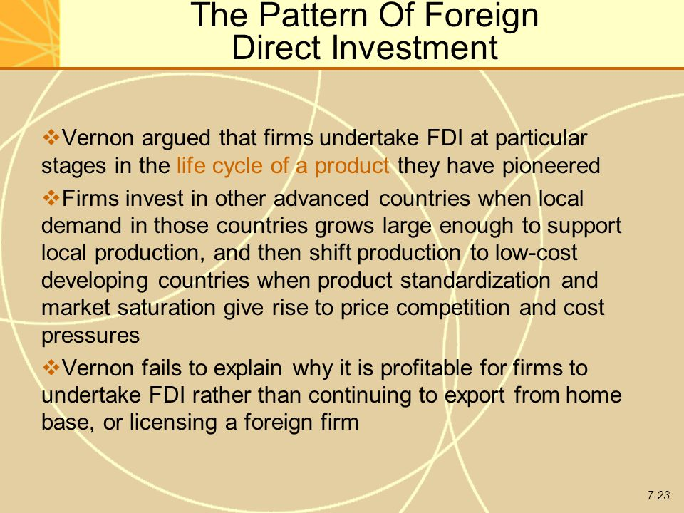 The Pattern Of Foreign Direct Investment